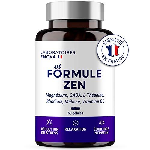FORMULE ZEN | Complément Alimentaire Anti-Stress | Magnésium, GABA, Théanine, B6, phyto-complexe 100% naturel : Mélisse, Rhodiola | 30 jours de relaxation | Fabriqué en France