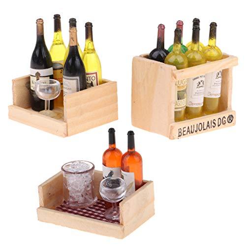 Harilla Etiqueta Engomada Magnética del Refrigerador Casa de Muñecas Vino Cerveza Copa 1/12 Botella en Miniatura Juguete