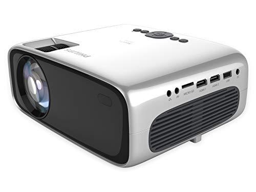 Philips NeoPix Prime, Projektor, 3.500 LED-Lumen, 120″ Bildgröße, Bildschirmspiegelung via Wi-Fi, Bluetooth, integrierter Media-Player, HDMI, USB, microSD, 3,5-mm-Audioausgang