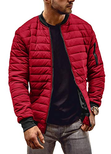 Mens Quilted Bomber Jacket Lightweight Full Zip Varsity Winter Warm Puffer Soft Shell Jackets Red