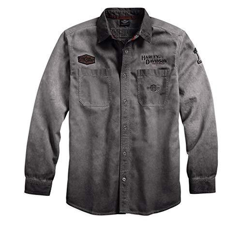 HARLEY-DAVIDSON Official Men's Iron Block Long-Sleeve Shirt, Grey (Medium)