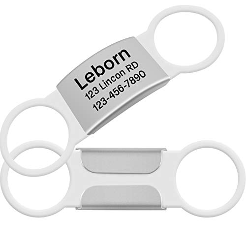 Vcalabashor Slide-On Pet ID Tags/Stainless Steel Dog Tags/Silent, No Noise On Collar Tags for Medium Large Breeds Pets/Custom Engraved 4 Lines/White Fits 3/4',1.0',2.0' Wide Collar