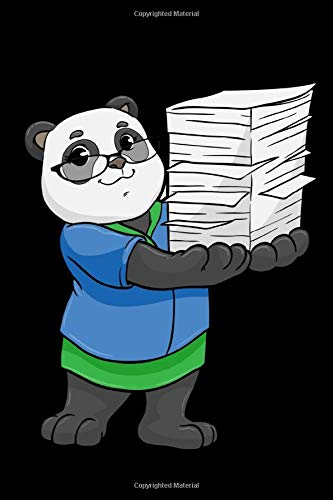 NOTEBOOK, 120 PAGES: Panda as Secretary with Glasses and Stack of Paper Notebook Diary Sketchbook Vocabulary for Women Men or Kids Girls Boys - Dot Grid - White Paper - 6x9 Zoll