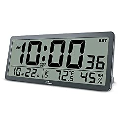 WallarGe Large Digital Wall Clock - 14 Inches Oversized Battery Operated Desk Clock with Temperature,Humidity,Date and Second Large Display,Auto DST Clocks for Seniors,Living Room and Office.