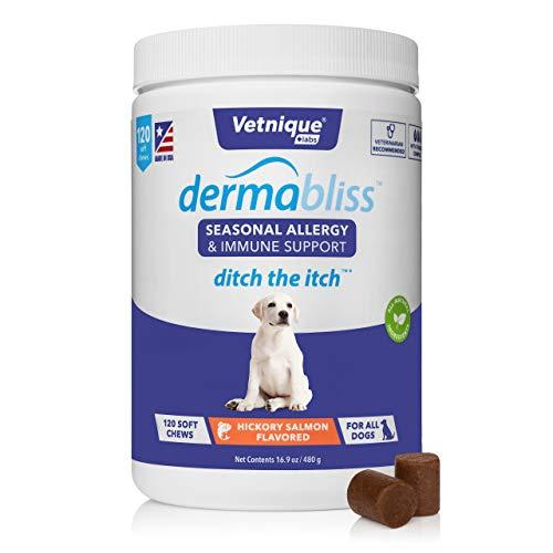 Vetnique Labs Dermabliss Alergia estacional y Apoyo inmunológico para Perros con Omega 3-6-9, probióticos, enzimas, Aceite de Pescado - Golosinas para Perros con Sabor a salmón Nogal (120 Unidades)