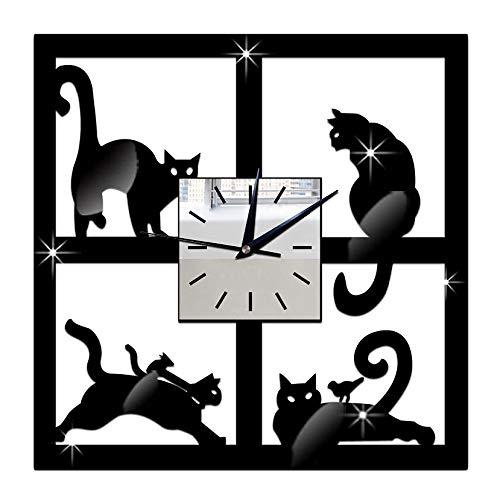 Binchil 3D Unique Miroir de Chat Horloge Murale Noire Design Moderne Accueil Respectueux de...