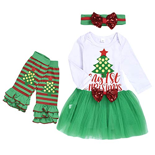 Fineday Outfits for Kids, Newborn Infant Baby Girls Christmas Tree Letter Tulle Dress Hairband Socks Set, Girls Outfits&Set (Green 6-9 Months)
