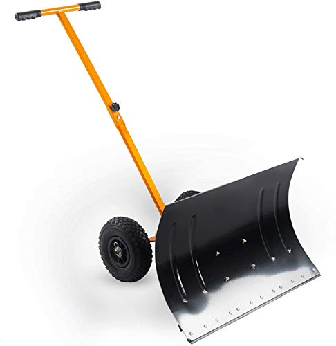ANDGOAL Snow Shovel with Wheels Durable Snow Pusher Adjustable Rolling Snow Pusher Shovels Kids-usable Shovel on Wheels for Clearing Car Sidewalks Yellow Snow Pusher for Driveway
