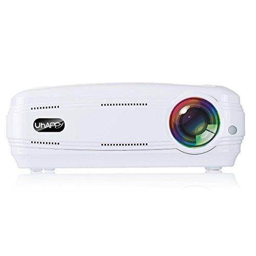 GAOHAILONG UHAPPY Zuhause HD Beamer 3200 Lumen 1080P 20000 Stunden LED-Leben LED Büro Dia-Projektor, White