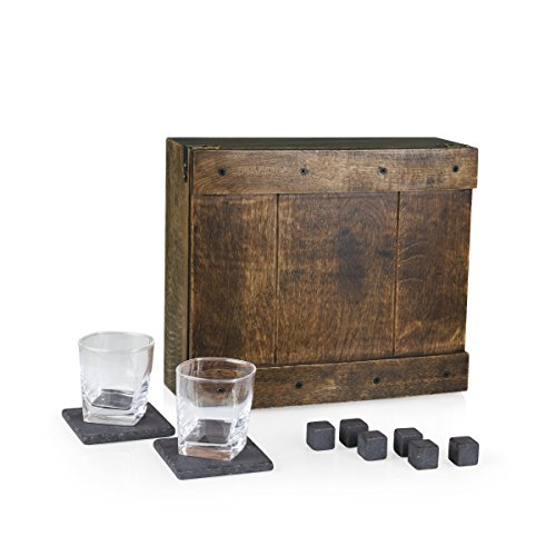 LEGACY - a Picnic Time Brand Whiskey Box Gift Set with Service for Two
