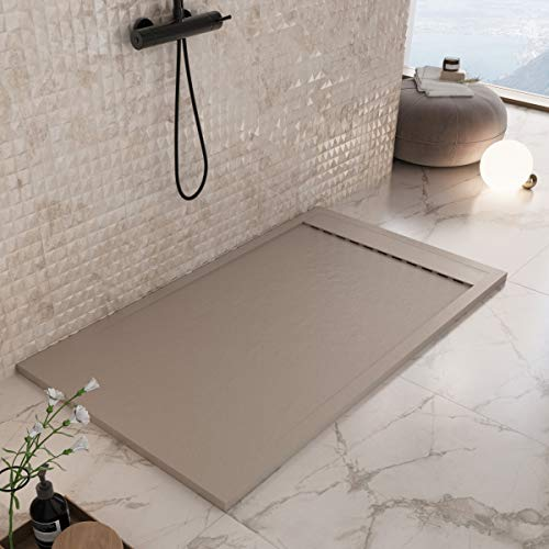 Luminosa decoración baño plato ducha resina 160 x 70 – Efecto piedra antideslizante con gelcoat – Modelo Luxury Moka – Rejilla de color liso y desagüe incluidos