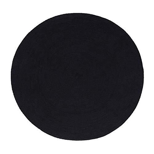 HOMESCAPES Tapis Rond Artisanal tissé à Plat en Coton Noir pour la Chambre ou Le Salon, 120 cm
