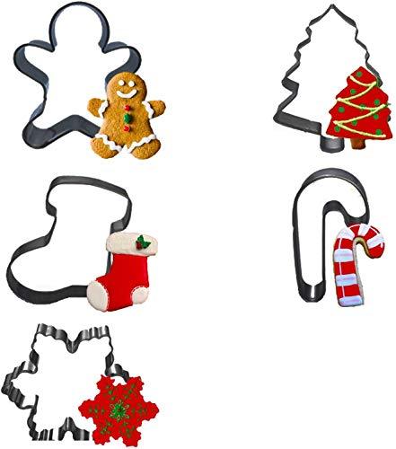 Conleke, 5 stampi per biscotti natalizi, albero di Natale, pan di zenzero, fiocco di neve, stampella, calzini.