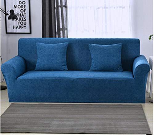 JNBGYAPS Universal Funda para sofá Elástica Color sólido Funda para Sofa en Forma L Elástica Protector Cubierta de Muebles Funda para Chaise Longue (3 plazas, Azul)