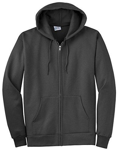 Port & Company Men's Ultimate Full Zip Hooded Sweatshirt L Charcoal
