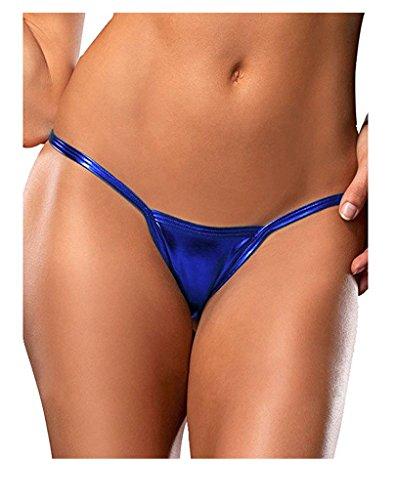 Women Sexy PVC Metallic Leather Look Micro Thong G-string Panties