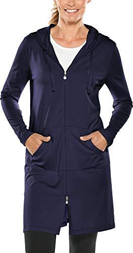 Coolibar UPF 50+ Damen Cabana Hoodie - Sonnenschutz - Blau - Large