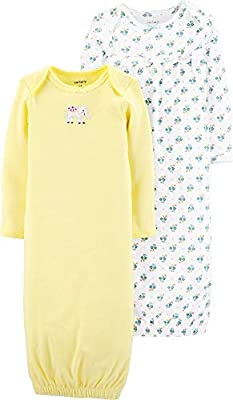 Carter's Baby Girls' 2-Pack Babysoft Sleeper Gowns (3 Months, Turquoise/Yellow)