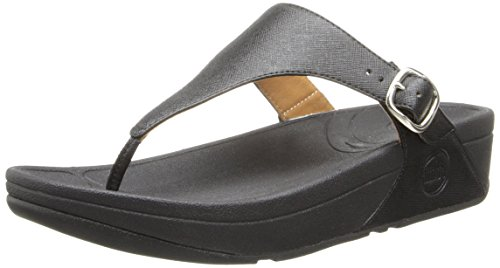 FitFlop Women's The Skinny Deluxe, Black, 6 M US