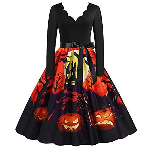 Blingko Kleider Damen Mode Kostüm Kürbis Muster 1950er Jahre Hausfrau Rundhals Langarm Lässigmit Halloween Print Kleid Reißverschluss Party Abendkleid Cosplay Karneval Festival Halloween Kostüm