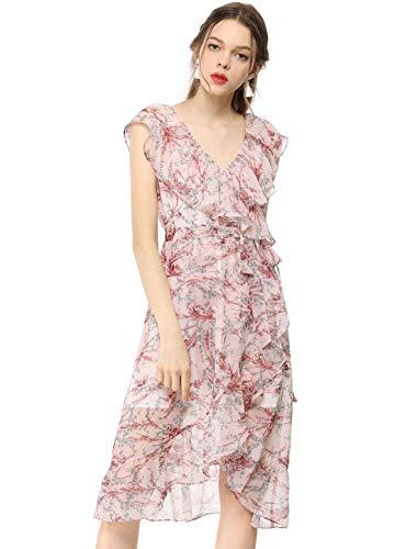 Allegra K Damen Ärmellos V Ausschnitt Volant Blumen Wickelkleid Kleid Rosa S (EU 38)