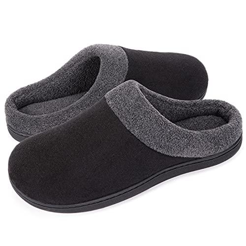 HomeIdeas Men's Woolen Fabric Memory Foam Anti-Slip House Slippers, Winter Breathable Indoor Shoes,Medium / 9-10 D(M) US,Black