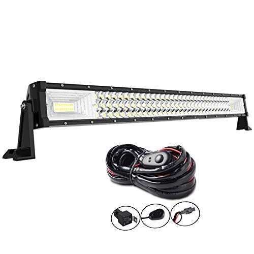AUXTINGS 32 pouces 405W Barre lumineuse LED de travail pour camions, tracteurs 4x4 bateau, hors-route voiture antibrouillard,12V 24V étanche IP67