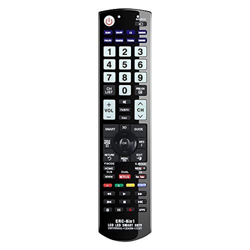 Alkia Universal-Fernbedienung für Panasonic, Samsung, LG, Sony, Toshiba, Sharp, Philips, Grundig TV/Learn/HDTV / 3D / LCD/LED - KEIN Setup erforderlich (im Dunkeln Leuchtend)