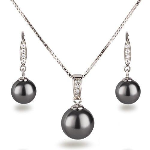 Schöner-SD, Schmuckset Perlen dunkel-grau anthrazit Anhänger, Kette und Ohrhänger besetzt mit Zirkonia, 925 Silber Rhodium