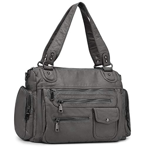 BAIGIO Women Tote Purses Roomy Washed Leather Bag Multiple Pockets Functional Satchel Large Shoulder Bags for Ladies (Grey)