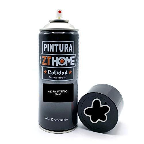 Pintura Spray Negro Satinado 400ml imprimacion para madera, metal, ceramica, plasticos / Pinta todo tipo de cosas y superficies Radiadores, bicicleta, coche, plasticos, microondas, graffiti