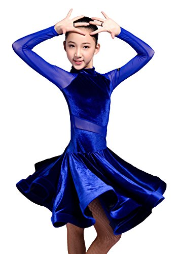 GD3102 kid latin ballroom dans professioneel netgaren en fluwelen splicing ontwerp race/performance jurk voor meisje