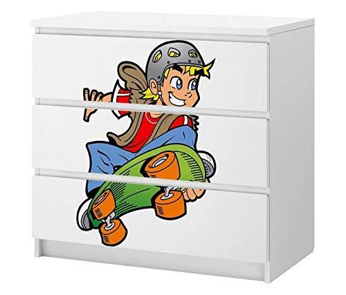 Set Möbelaufkleber für Ikea Kommode MALM 3 Fächer/Schubladen Kiderzimmer Boys Junge skaten Kat2 Skateboard Sport ML3 Aufkleber Möbelfolie sticker (Ohne Möbel) Folie 25C2537