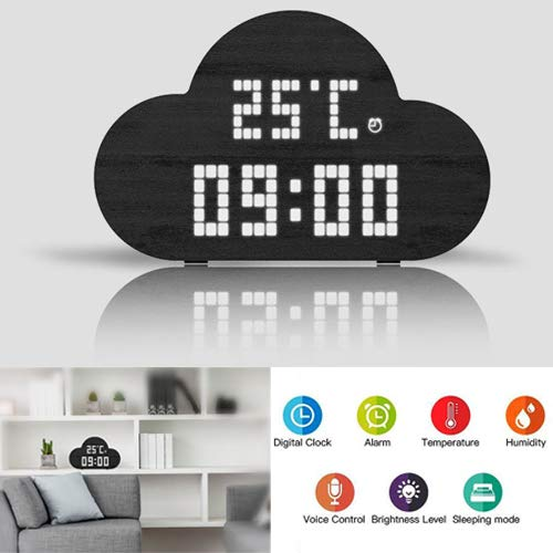 perfeo Wooden Digital Clock with Alarm and Snooze, 3 Dimmable Settings, Temperature and Humidity Display, Rechargeable Battery Powered, Perfect for Kids,Bedrooms,and Home