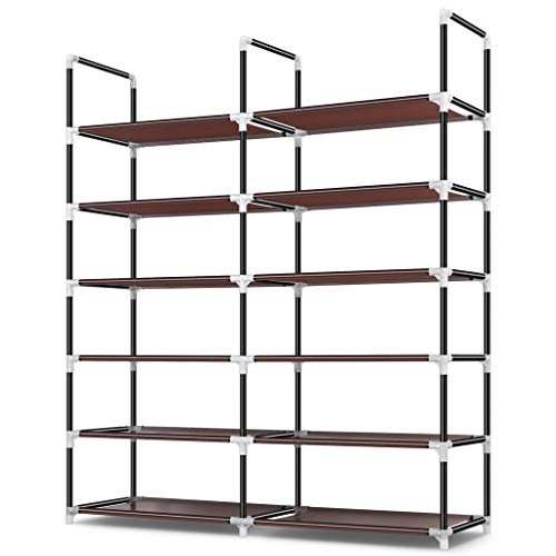 Awenia Shoe Rack 6 Tier, Durable and Stable Shoe Organizer 30 Pairs Space Saving Shoe Tower Shoe Shelf for Closet Entryway Hallway, Non-Woven Fabric, Brown
