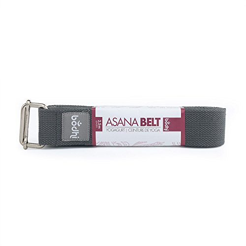 bodhi Yoga-gordel ASANA riem van katoen met schuifgesp van metaal, praktisch yoga-accessoire, basic hulpmiddel niet alleen voor beginners (antraciet)