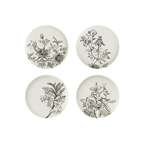 Creative Co-op 8' Black & White Floral Stoneware Plate (Set of 4 Patterns) Dinnerware, Black