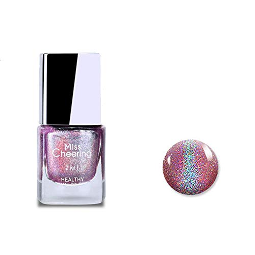 Ownest Holographic Nail Polish, Gorgeous Glossy Holographic Halo Glitter Polish Nail Art Nail Pigment Diamond Laser Nail Polish -LS06