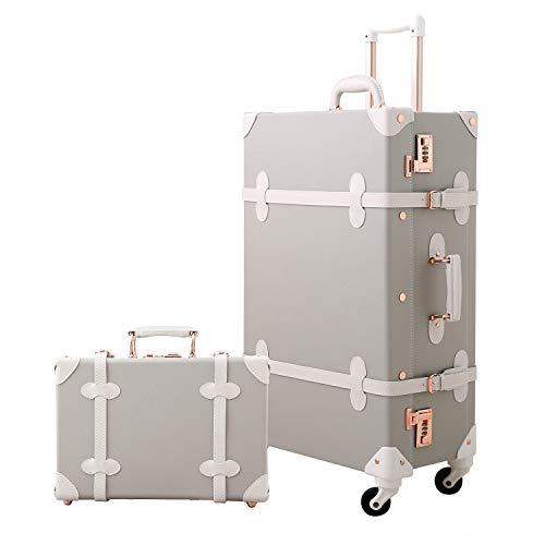 Mosslanda Retro Luggage Set 24 inch Vintage Spinner Trolley Suitcase with 12 inch Train Case for Women (Light Gray)
