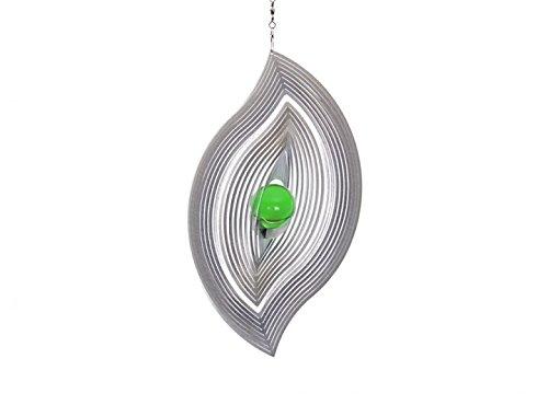 Illumino Edelstahl-Windspiel Wellenblatt mit smaragdgrüner 35mm Glaskugel