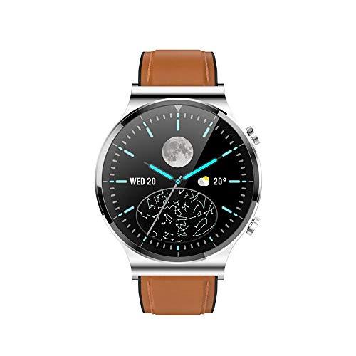 2020 Nuovo Bluetooth Chiama Smart Watch Watch Guarda il quadrante/risposta chiamate SmartWatch per uomo Capodanno Regalo vs GT2 Pro (Color : Brown Leather)