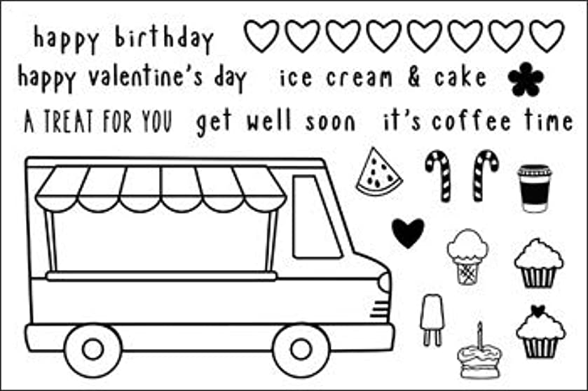 Ice Cream Truck Clear Stamps for Scrapbooking and Card-Making by The Stamps of Life - IceCreamTruck2Stamp