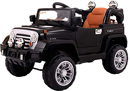12V Kid Ride on Truck with Parental Remote Control, Battery Powered Electric Ride on Vehicle with Music Horn MP3 Player LED Lights, for Children 37-72 Months, Black
