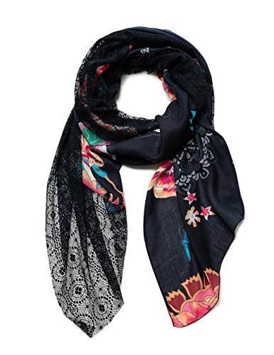 Desigual Womens FOUL_INDI CHINTZ PATCH Fashion Scarf, Black, U