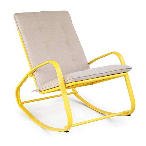 SUNDO Outdoor Schaukelstuhl, Schwingsessel, Schaukelliege mit Kissen, Gepolsterter Relax-Sessel, Gartenstuhl mit Armlehne, Gestell aus Stahl (Gelb)