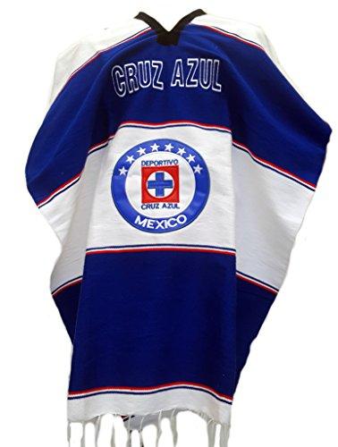 Mexican Soccer Teams Poncho Cobija Blanket (Cruz Azul)