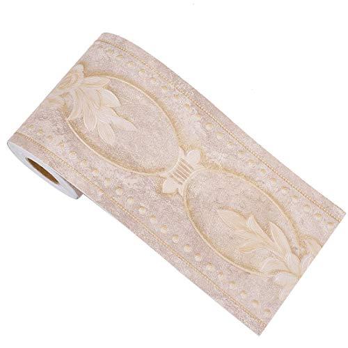 Sourcing Map 3D Tapeten-Bordüre, selbstklebend, PVC-Bodenbordüre für Küche, Badezimmer, Schlafzimmer, Wanddekoration, Papier, Pfingstrose, 10 cm x 5 m braun