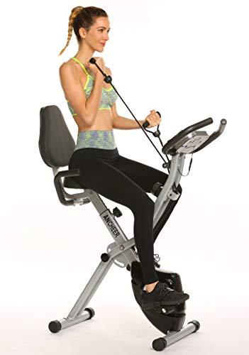 ANCHEER Bicicleta Estatica Bicicleta de Ejercicio Plegable de Interior con Bandas de Resistencia de Brazo y Monitor de Corazón – Perfecto Máquina de Ejercicio en Casa para Cardio Color Gris