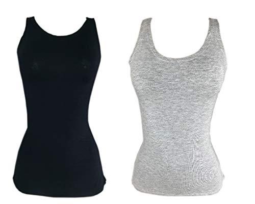 Kit 2 Regata Mullet Plus Size Lisa Feminina Moda PRETO-CINZA G1