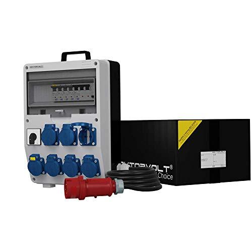 Mobil Messe Stromverteiler TD-S/FI 1x 0-1 Nockenschalter 7x230V Mennekes Dosen Starkstromkabel 5x2,5mm2 mit Tragegriff Baustromverteiler Steckdosenverteiler Doktorvolt® 6169